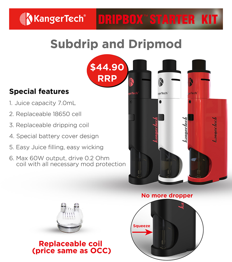 Kanger Dripbox Starter Kit Features