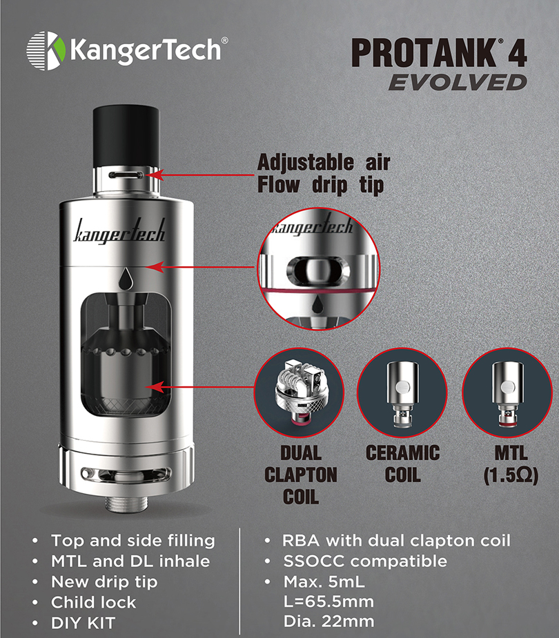 Kanger Protank 4 Features