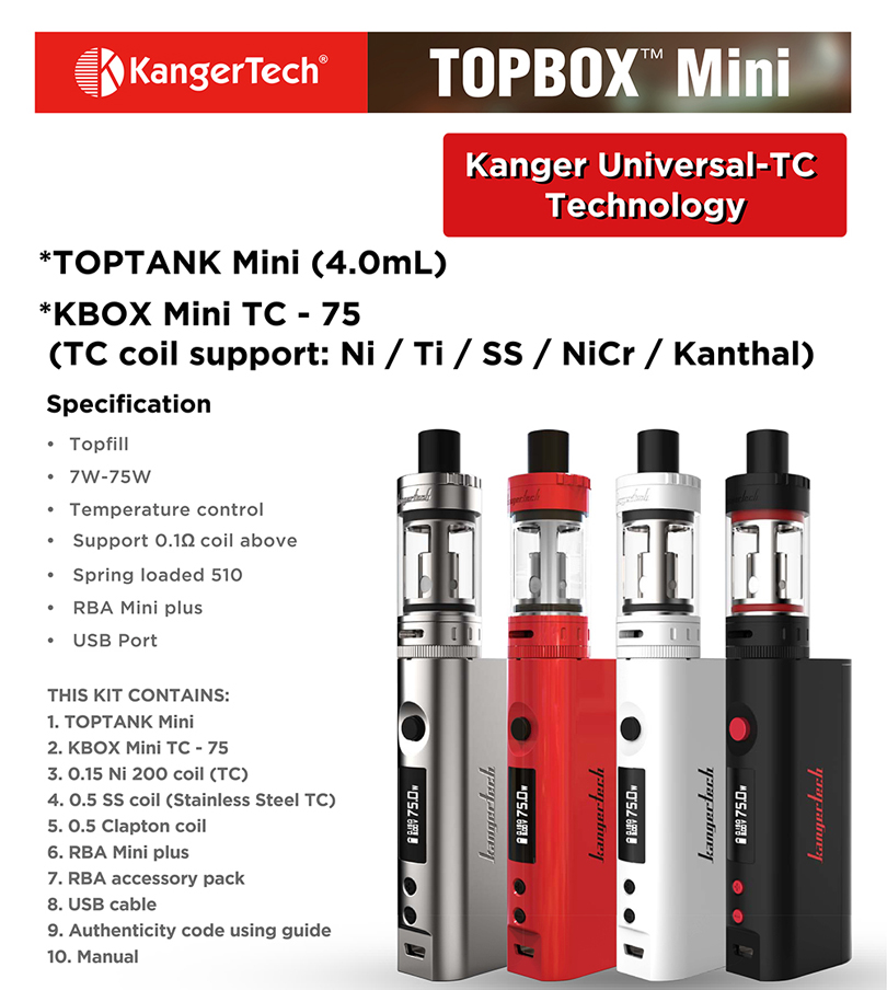 Kanger Topbox Mini Starter Kit Features