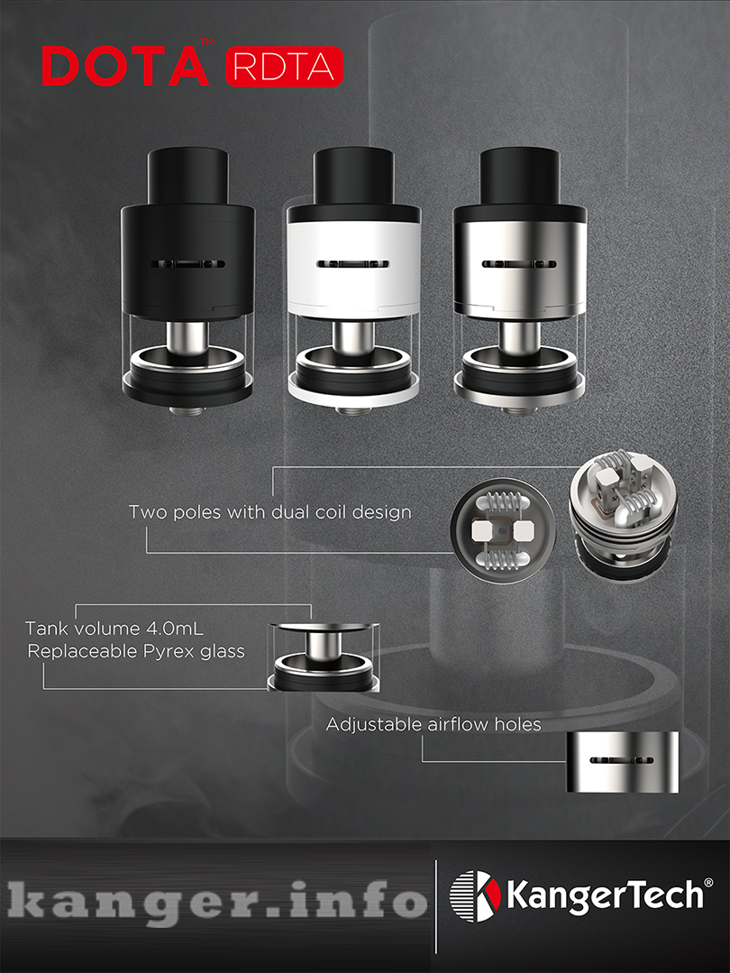 Kanger DOTA RDTA Tank Features